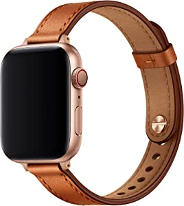 OUHENG Slim Band Compatible with Apple Watch Band 40mm 38mm 44mm 42mm, Women Genuine Leather Band Replacement Thin Strap for iWatch SE Series 6 5 4 3 2 1 (Brown/Rose Gold, 40mm 38mm)
