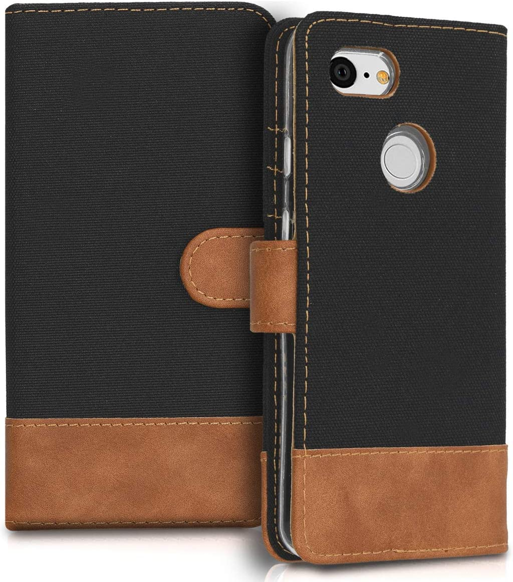 Grey//Black Fabric and PU Leather Flip Cover with Card Slots and Stand kwmobile Wallet Case for Google Pixel 3