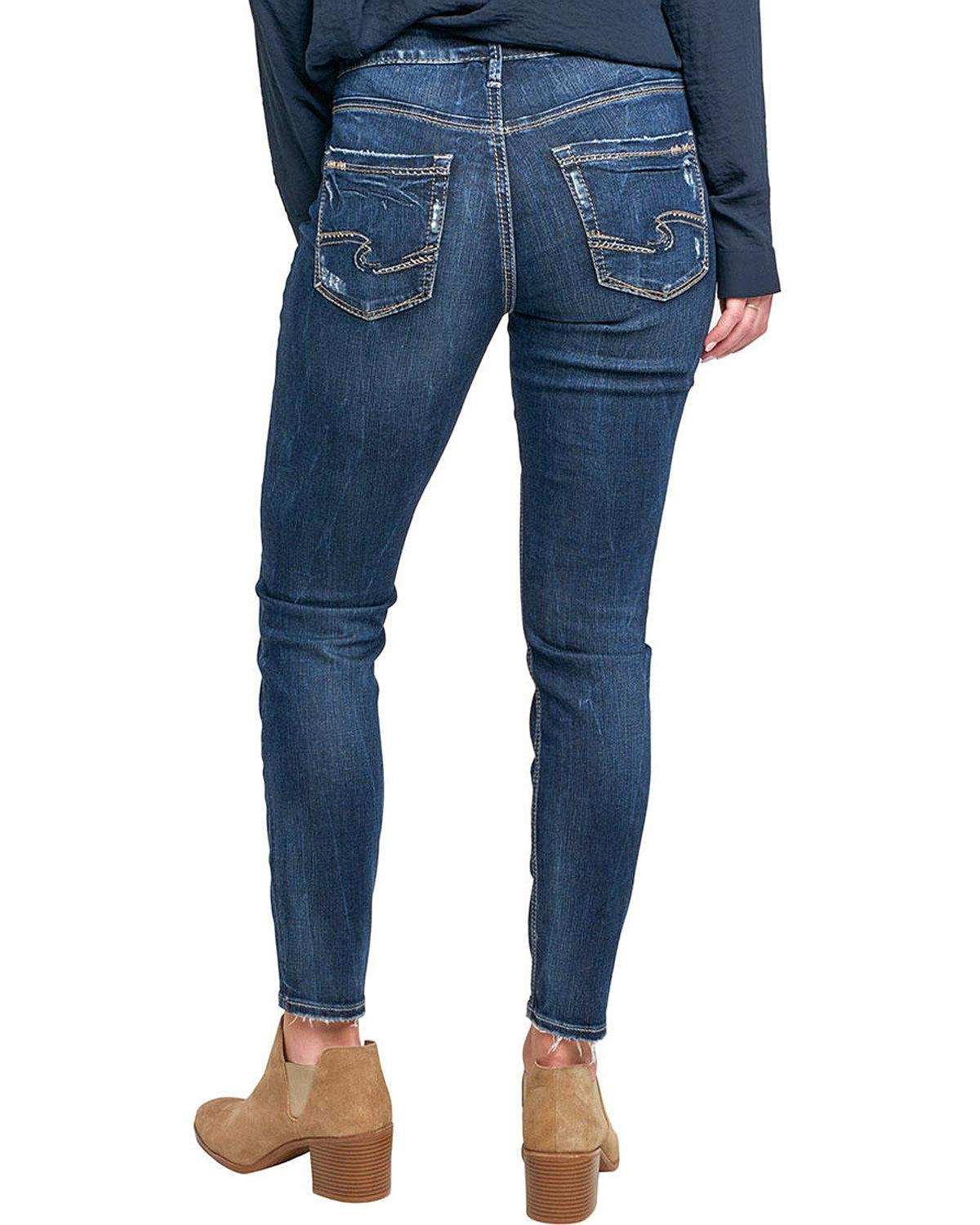 Silver Jeans Co. Women's Avery Curvy Fit High Rise Ankle Skinny, Dark Vintage Wash, 28