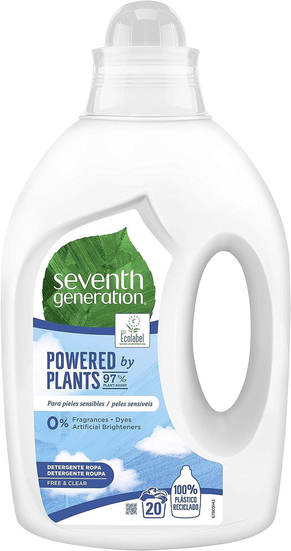 Seventh Generation - Free & Clear - Detergente para Ropa para Piel Sensible Hipoalergénico - 20 lavados