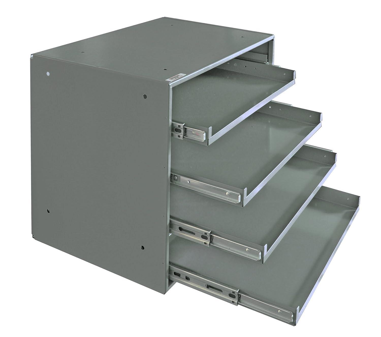 Durham 310B-95 Heavy Duty Prime Cold-Rolled Steel Triple Track Bearing Slide Rack, 4 Compartments, 12-1/2' L x 20' W x 15' H, Gray Powder Coat Finish 12-1/2 L x 20 W x 15 H