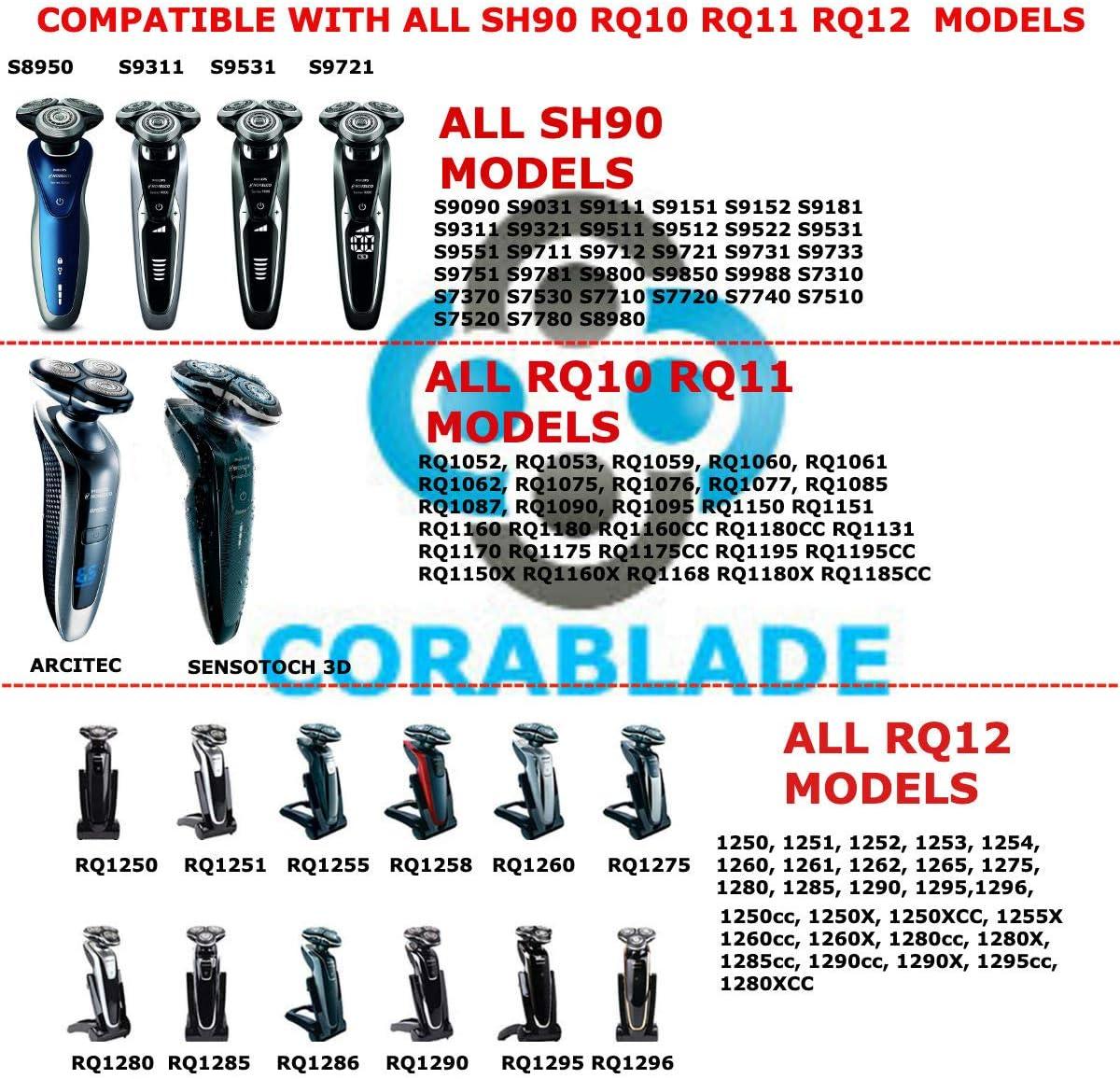 CORABLADE SH90 Cuchillas compatibles con cabezales de repuesto Philips Norelco Series 9000 SH90: Amazon.es: Belleza