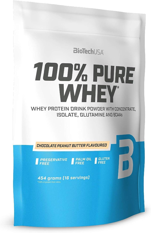 BioTechUSA 100% Pure Whey Complejo de proteína de suero, con aminoácidos añadidos y edulcorantes, sin conservantes, 454 g, Mantequilla de avellanas ...