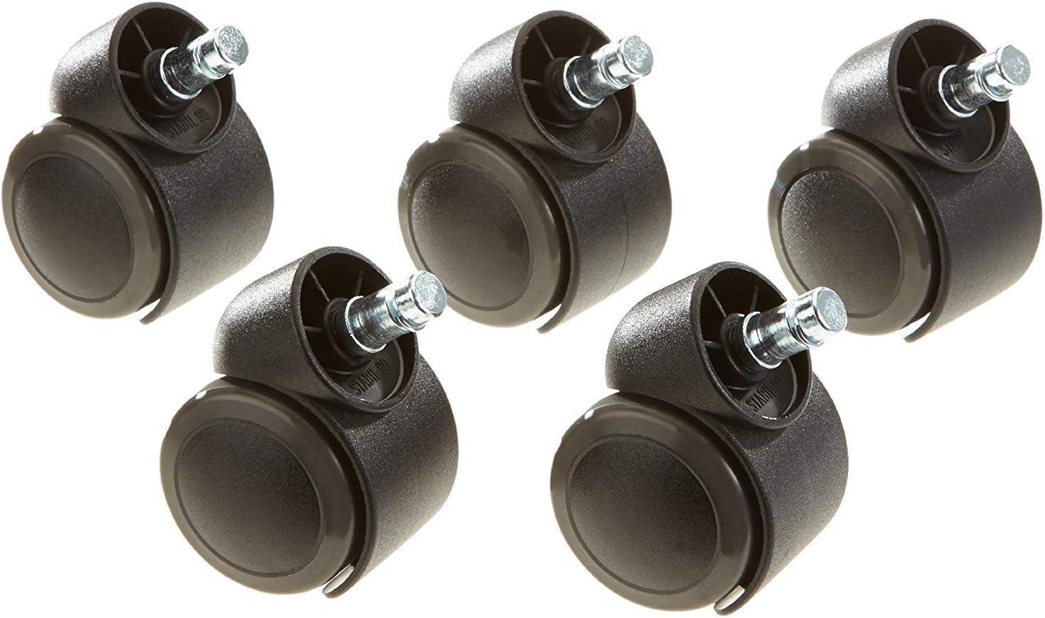 Xenborg 5X Ruedas para Silla de Oficina ROLO Pin 11 mm//Roll 50 mm Ruedas giratorias con Superficie Deslizante para Suelos Duros by