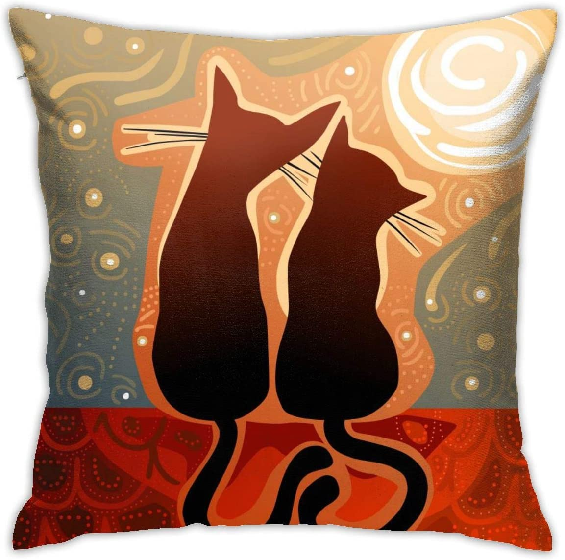 Yaateeh Cats Love Watching Moon Luna Starry Sky Print Throw Pillow Covers Decorative 18x18 Inch Pillowcase Square Cushion Cases for Home Sofa Bedroom Livingroom