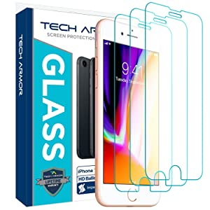 Tech Armor Apple iPhone 7, iPhone 6, iPhone 8 Ballistic Glass Screen Protector [3-Pack]