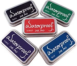 Best Stamp Ink Pads for Rubber Stamps, Waterproof Stamp Pads, 5 Colors Ink Pad for Stamps, Acid-Free, Non-Toxic Stamp Ink Pad, Stamp Pads for Card Making, Wood, Fabric and Paper, Vivid Effects(5 Pack)