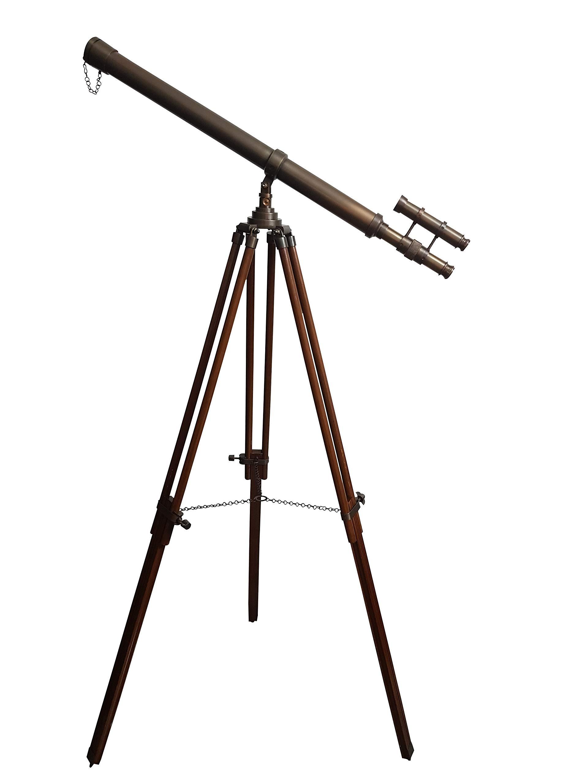 CollectiblesBuy Antique Metal Floor Standing Tripod Base Telescope Nautical Gift Master Harbor Maritime Scope Retro