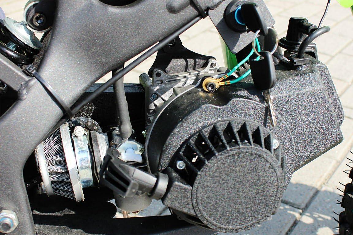 altura de la silla 60cm COLOR VERDE motor de arranque de aluminio frenos de disco escape de aluminio ORION Mini Cross 49cc 2 tiempos Mono Gear: velocidad ajustable ruedas de 10