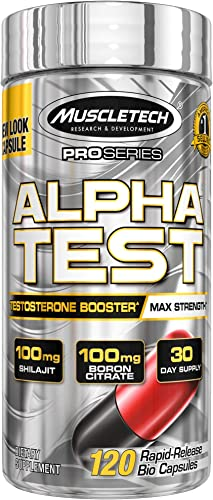MuscleTech AlphaTest ATP Testosterone Booster for Men, Boost Free Testosterone and Enhance ATP Levels, 120 Count