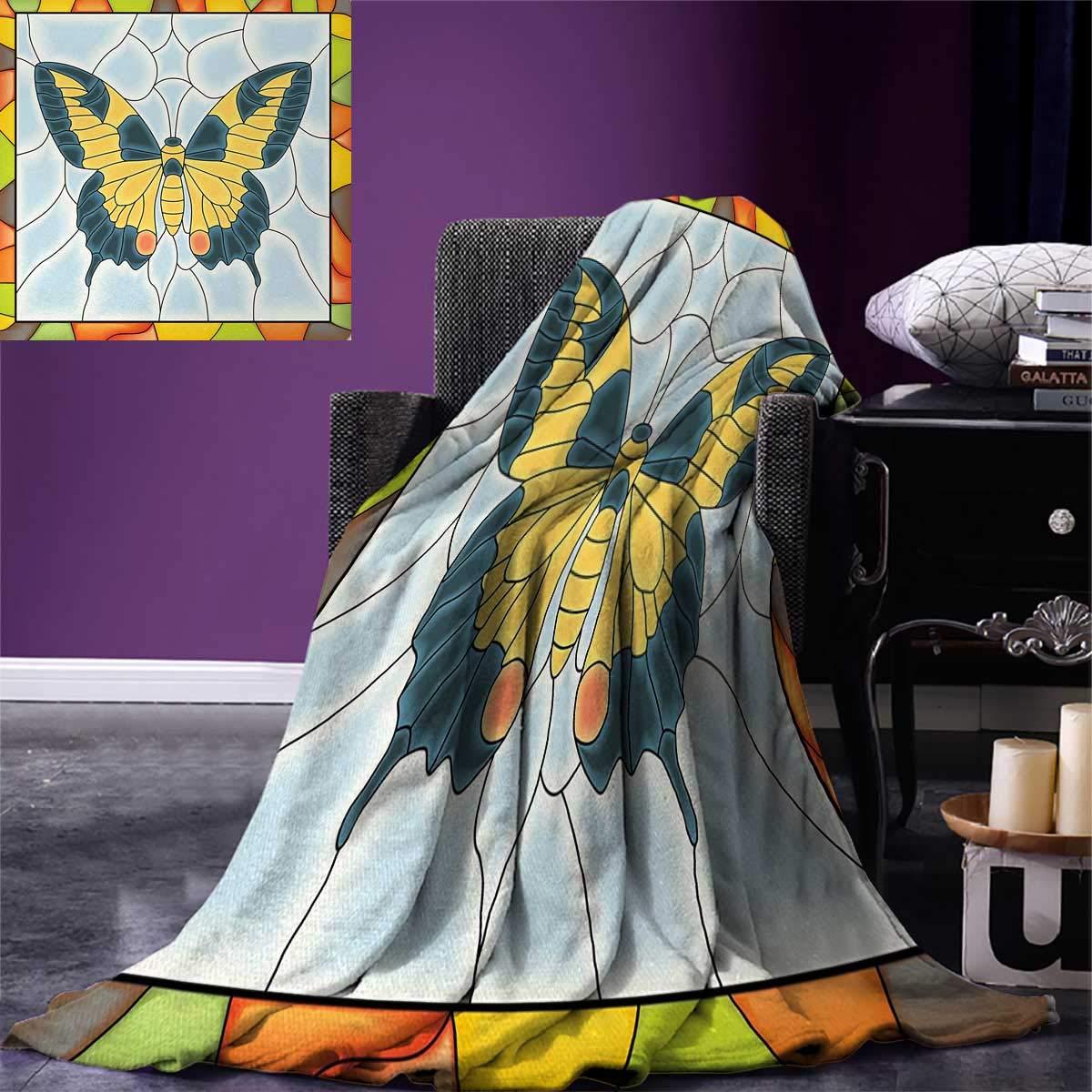 Anniutwo Butterflies Warm Microfiber All Season Blanket Butterfly in Stained-Glass Window Frame Wing Spring Garden Illustration Print Image Blanket 62''x60'' Multicolor