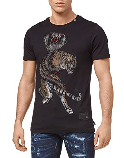 bd69ebf14651 Philipp Plein T-Shirt Round Neck SS Seventy Eight, Black: Amazon.co ...