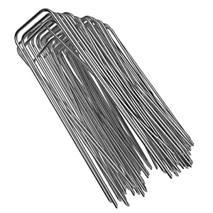 "100-Pack 6"" Heavy Duty 11 Gauge Galvanized Steel Garden Stakes Staples Securing Pegs for Securing Weed Fabric Landscape Fabric Netting Ground Sheets and Fleece"