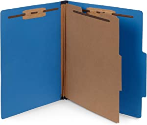 10 Dark Blue Classification Folders - 1 Divider - 2 Inch Tyvek Expansions - Durable 2 Prongs Designed to Organize Standard Medical Files, Office Reports - Letter Size, Dark Blue, 10 Pack