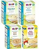 HIPP Getreide-Brei Mix 4 Sorten bestehend aus Feine Hirse,Bircher-Müesli,5-Korn und Schmelzende Reisflocken (2x250g+2x350G)