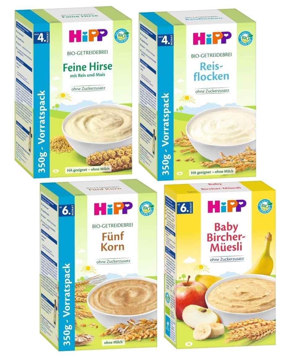 HIPP Getreide-Brei Mix 4 Sorten bestehend aus Feine Hirse, Bircher-Mü esli, 5-Korn und Schmelzende Reisflocken (2x250g+2x350G) Hipp GmbH & Co. Vertrieb KG