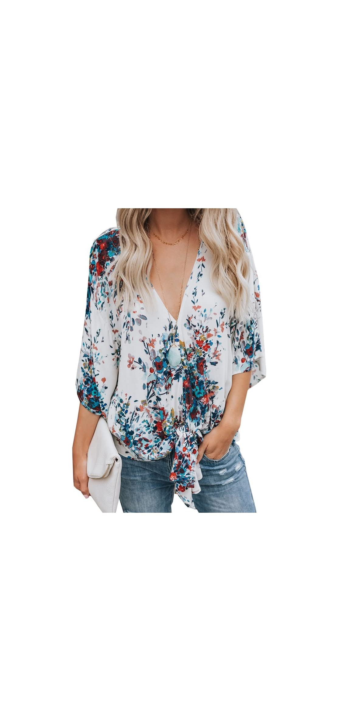 Womens Floral V Neck Tie Knot Front Blouses Bat Wing