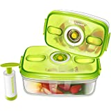Freshseven Vacuum Food Container and Instant Marinator with a Pump- Rectangular Set of Two- 2 Quart + 1 Quart Made of BPA-free Tritan Microwave Safe Diswasher Safe Stain Proof