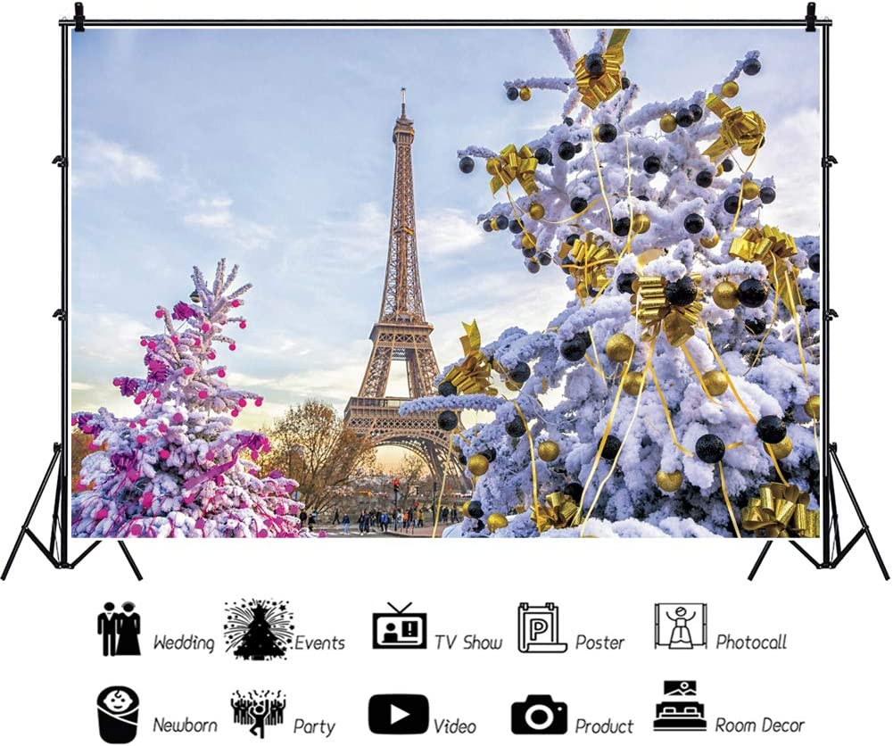 Leowefowa Eiffel Tower Snowy Xmas Trees with Pink Gold Decors Backdrop for Photography 10x8ft Christmas Background Xmas Party Banner Child Baby Photo Shoot Studio Props
