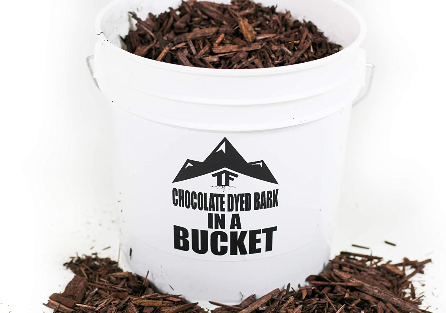 Chocolate Dyed Bark Mulch in Bucket - by TERRAFIRMA - 1 Gallon - Shredded bark Mulch Wood Chips, Dyed with a Rich, Non-Toxic Chocolate Colored Wood dye