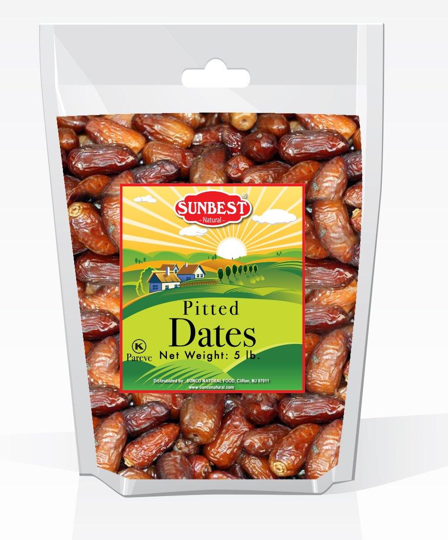 Sunbest Sun-Dried Pitted Dates in Resealable Bag,Premium Quality, Gluten Free - Non GMO - Vegan - Kosher (5 Lb)