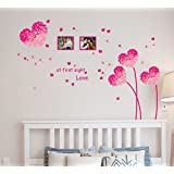 Decals Design 'Heart Shaped Flowers with Blowing Petals' Wall Decal (PVC Vinyl, 70 cm x 50 cm x 70 cm, Multicolour)