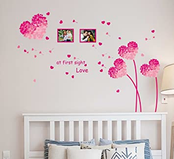 Buy Decals Design Heart Shaped Flowers with Blowing Petals PVC