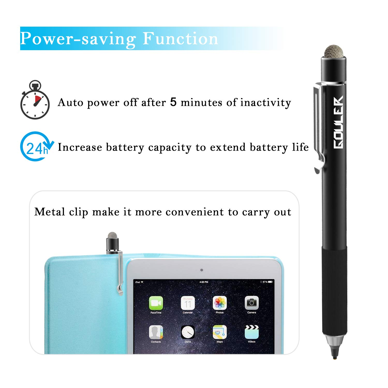 Gouler High-precision Stylus Pen with 2 in 1 Copper & Mesh Fine Tip Rechargeable Capacitive Digital Pen for iPad, iPhone, Android and Most of Touch Screen Devices by Gouler (Image #3)