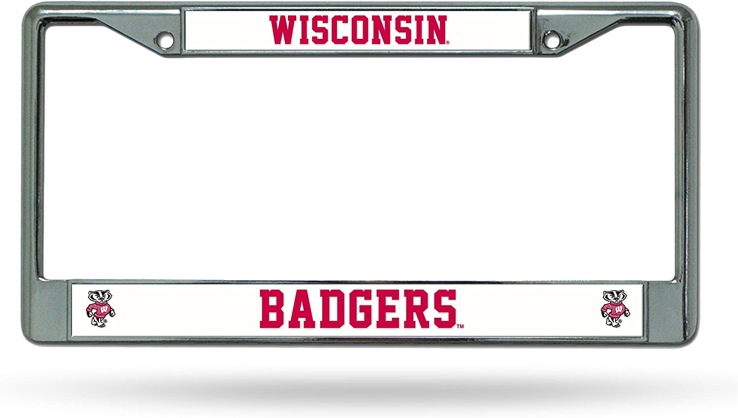 Rico Industries Wisconsin Badgers Chrome License Plate Frame Metal Tag Cover EZ View Carbon Fiber Design All Over Style Heavy Gauge University of Inc