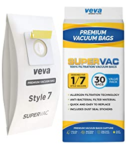 VEVA 30 Pack Premium SuperVac Vacuum Bags Style 7 Paper Bag Compatible with Bissell Uprights Vacuums, Part # 32120