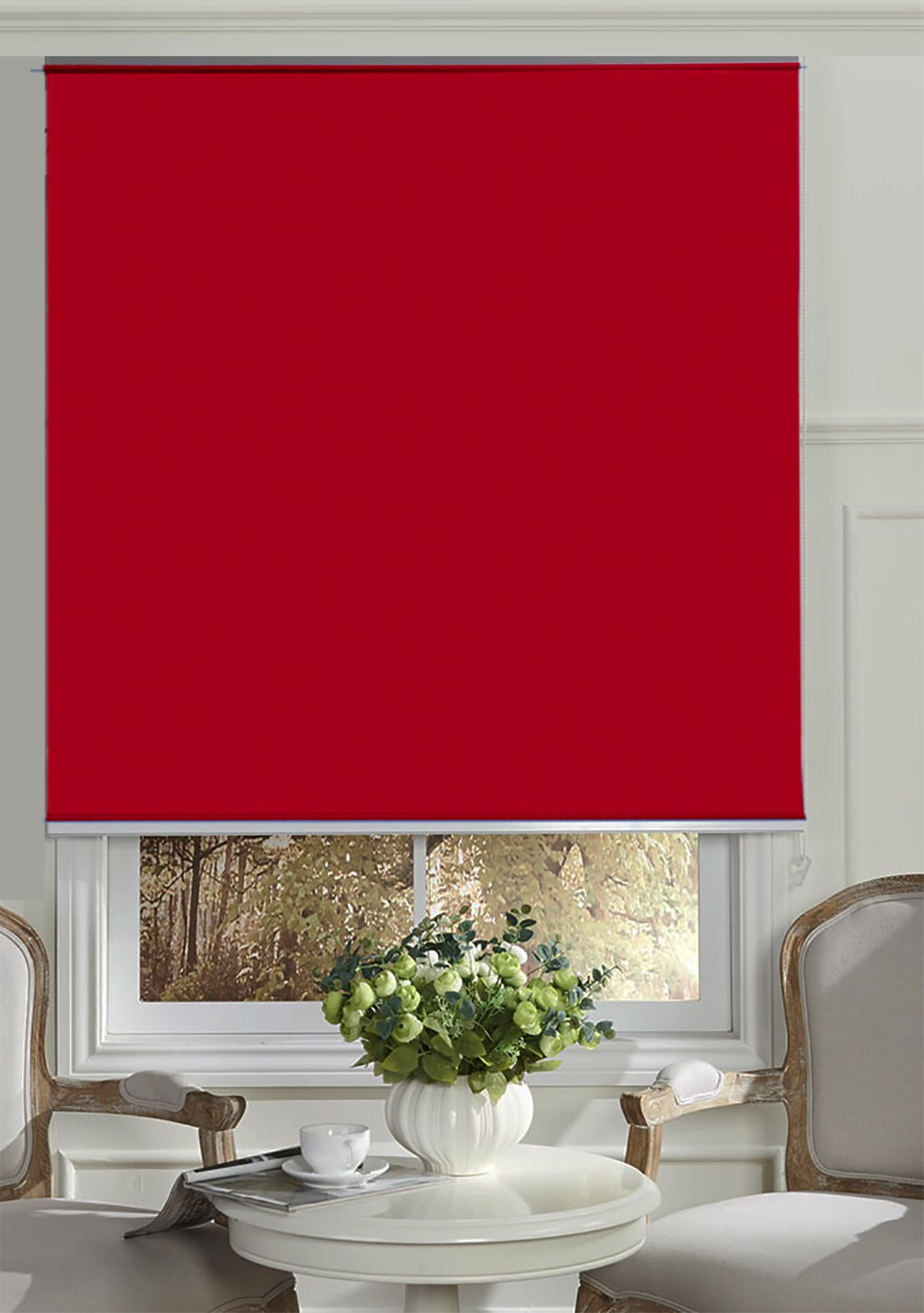 Beryhome Cristal Cordless Blackout Roller Shades/Blinds. Ideal For Office, Hotel, Bedroom, Kitchen, Kid's Room Window Decor. Size: Width 25''x Height 68'' inches. Size: Red. (W25''xH68'', Red)