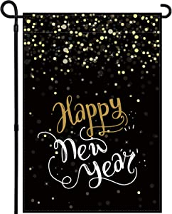 Tbrand Happy New Year Garden Flag Vertical Double Sized Winter Holiday Party Yard Outdoor Decoration Outside Yard Sign Indoor & Outdoor Lawn Decorations 12.5 x 18 Inch