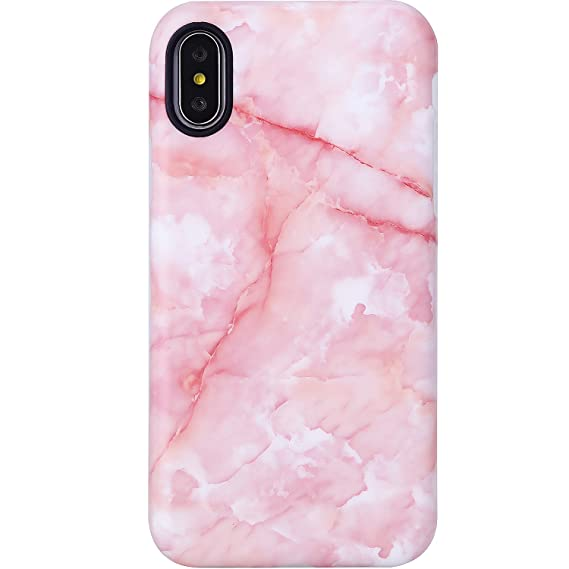 VIVIBIN IPhone X XS Case For GirlsCute Pink Marble Women Clear Bumper Soft