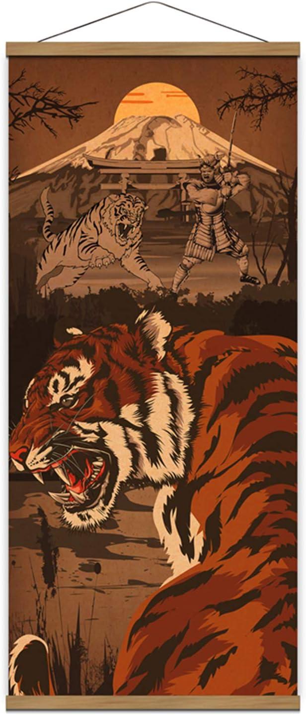 "Samurai Spirit With Ferocity Tiger Japan Retro Warrior Canvas Wall Art Print Poster Scroll Wood Framed to Hanging Wall Home Karate Hall Sushi Restaurant Decor 16""x35"""