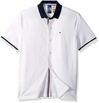 492cd347 Tommy Hilfiger Men's Adaptive Polo Shirt with Magnetic Buttons Custom Fit,  Bright White Small