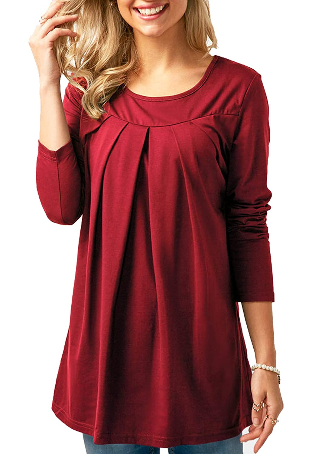 onlypuff Womens Blouses Long Sleeve Ruffle Solid Color Casual Tunic Tops ca-YS0160