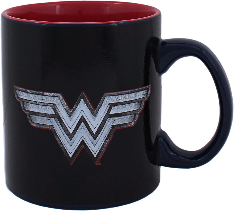 Silver Buffalo DC Comics Wonder Woman Logo with Character Heat Reveal Ceramic, 20-Ounces Mug, Multicolor