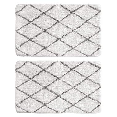 mDesign Soft Microfiber Polyester Non-Slip Rectangular Rug, Extra-Plush Water Absorbent, Diamond Design - for Bathroom Vanity, Bathtub/Shower, Machine Washable - 34  x 21  - Pack of 2, Pure White/Gray