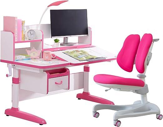 Solid Wood Totguard Ergonomic Kids Desk and Chair Set Children Study Table Height Adjustable Kids Desk Ergonomic Design School Students Writing Desk Tilt Desktop Storage Drawer Bookstand