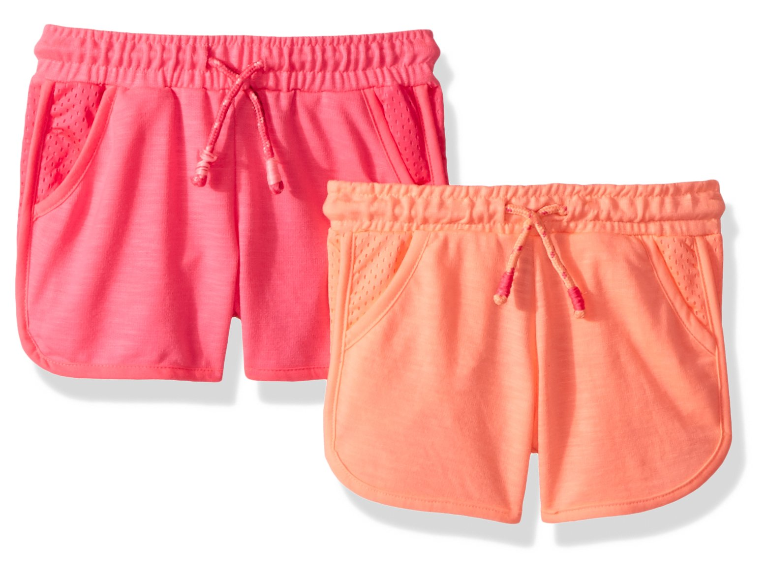 Limited Too Big Girls' 2 Pack Short, Mesh Trim Neon Pink with Neon Light Coral Multi, 14/16