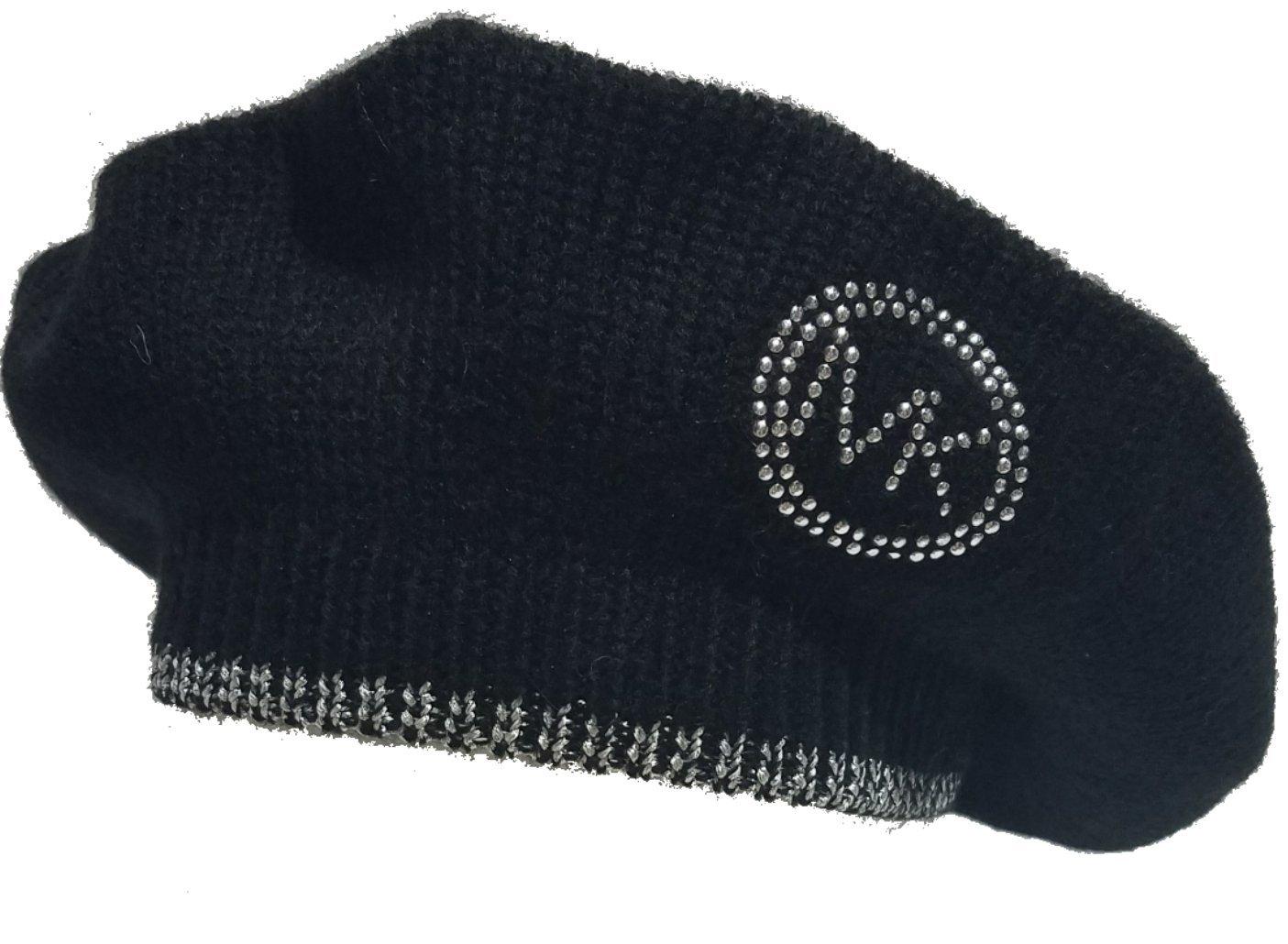 Michael Kors MK Silver Logo Beret, Black