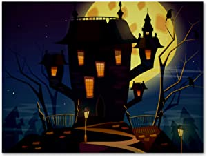 imobaby Oil Painting on Canvas Halloween Spooky Castle Prints with Wooden Frame for Bedroom Home Living Room Office Modern Wall Art Decor, 11.8x19.6 in