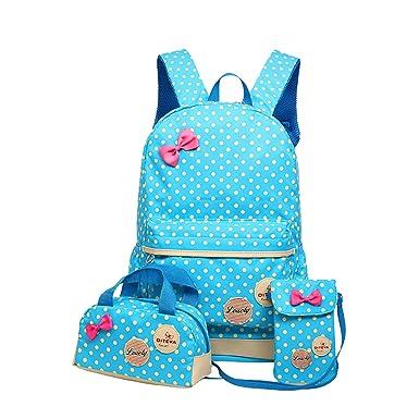 Amazon.com | Moonwind Polka Dots Bow 3pcs Kids Book Bag School ...