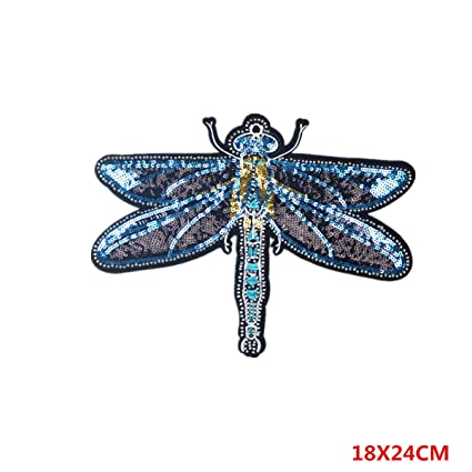 Amazon Big Blue Purple Skimmer Sequin Embroidery Patch