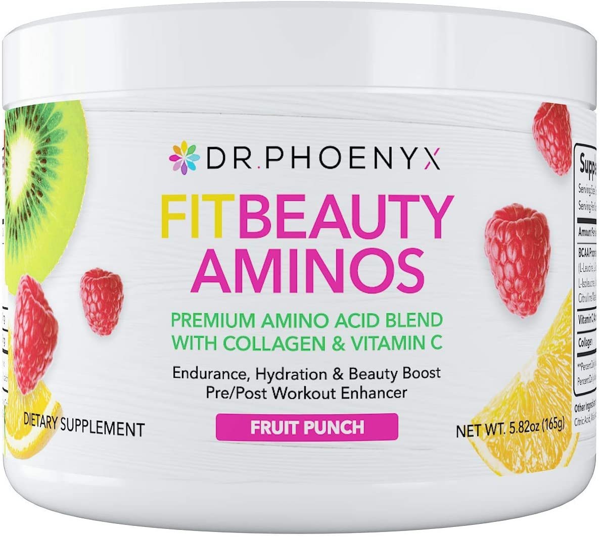 Dr. Phoenyx FitBeauty Amino Acid Blend with Collagen Vitamin C – Hydration Boost, Healthy Metabolism, Healthy Skin – Keto Friendly Drink Mix – Fruit Punch, 30 Servings
