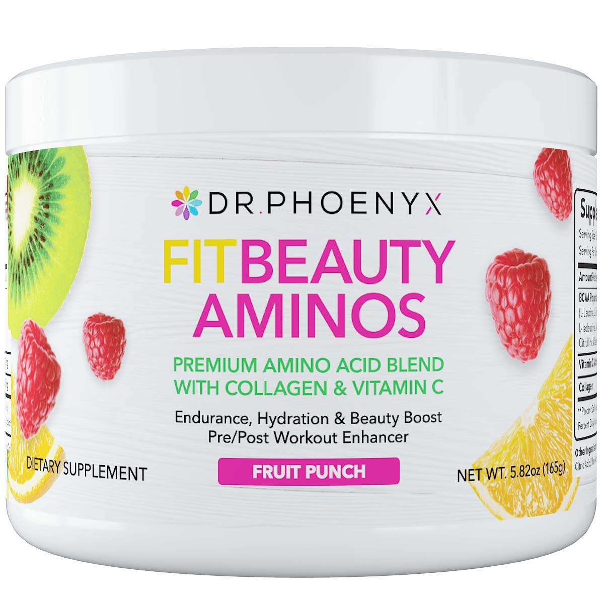Dr. Phoenyx FitBeauty Amino Acid Blend with Collagen Vitamin C – Hydration Boost, Healthy Metabolism, Healthy Skin – Keto Friendly, Sugar Free Drink Mix, Hair Skin and Nails – Fruit Punch, 30 Serv