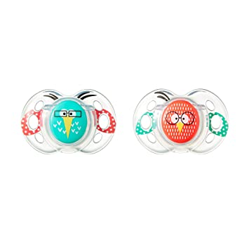 Tommee Tippee Closer to Nature Fun Pacifier, 6-18 Months, 2 Count -Colors Will Vary