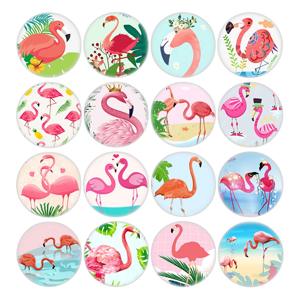 16pcs Flamingo Series Fridge Magnets Beautiful Glass Creative Pushpins for Whiteboard Office Calendar Decorative Popular Home Wall Décor Set