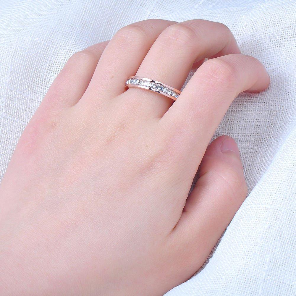 Amazon.com: Promsup Silver/Rose Gold CZ Titanium Steel Ring Men ...