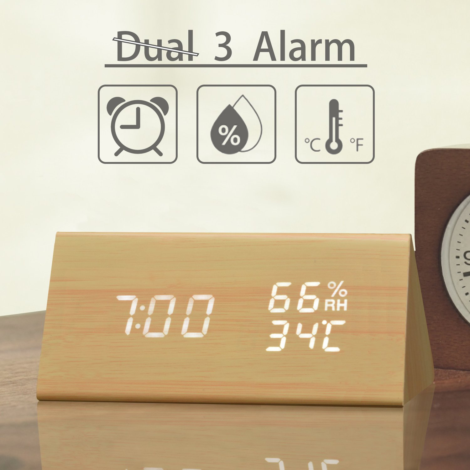 Digital Alarm Clock, 3 Alarm Settings, with Wooden Electronic LED Time Display, Dual Temperature & Humidity Detect, Ideal for Bedroom, Bedside Kids, Batteries not Needed TooTa